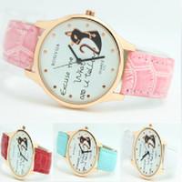 Femmes montres intelligentes France-Vente en gros - Livraison gratuite Nouveaux femmes chat élégant Watch PU bracelet en cuir Golden Quartz Watch Rosivga Brand cadeau relogio féminin reloj mujer