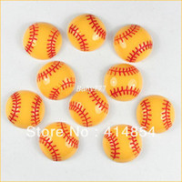 Resin Holiday Decoration & Gift Sports Wholesale 50pcs Baseball Softball Sports Resin Cabochons Flatbacks Flat Back Girl Hair Bow Center Crafts Embellishment #orl