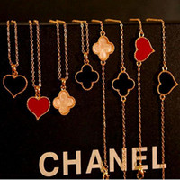 Wholesale Heart Necklaces love leaf clover amber Necklace vintage gold chains cheap chokers fashion jewelry