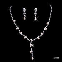 Rhinestones arrival earrings jewellery - Cheap New Arrival Silver Plated Pearl amp Rhinestone Bridal Necklace amp Earrings Jewellery Set