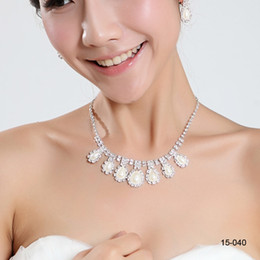 Wholesale Cheap Real Image Jewelry Wedding Bridal pearl Rhinestone necklace earring set Party Prom Wedding Earrings Necklace
