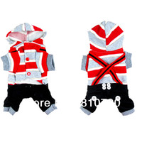 Wholesale Adorable Dog Cat Hoodie Pet Clothes Apparel Red Grey Stripes Coat Jumpsuit With Buttons Soft Dog Clothing Braces Pants Costumes