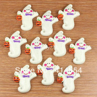 Resin Holiday Decoration & Gift Halloween Wholesale 50pcs Halloween Baby Boo Ghost w Pumpkin Resin Cabochons Flatback Flat Back Hair Bow Center Crafts Embellishments DIY