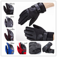 Wholesale Winter slip resistant male leather gloves thickening thermal fashion warm motorcycle gloves