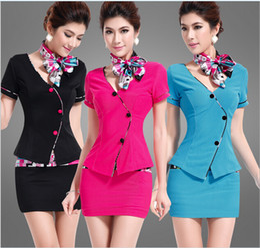 Wholesale 2014 New Spring and Autumn Women Work wear women s occupation suit beauty salon Skirt Suit Airline Stewardess Ocupation suit A