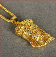 Wholesale 2014 New Hip Hop JESUS Christ Piece Pendant Necklace With Corn Chain K Gold Plated Men Jewelry SN N001