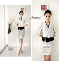 Work Mini Women career dresses Women Collarless Overskirt Business Suit Tailored Suits Career fashion tops + skirt