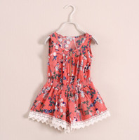 Shorts Girl Summer baby girl kids flower jumper floral jumpsuits crochet jumpsuit lace jumpsuit one-piece (tank tops vest singlet shirt + shorts bloomers ) 6