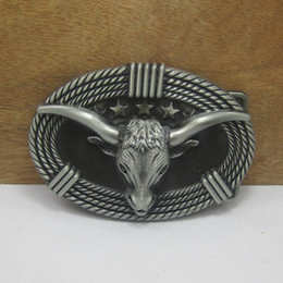BuckleHome bull head belt buckle western belt buckle with pewter finish FP-03430 with continous stock free shipping