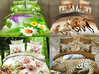 Wholesale 3d oil painting bedding sets cotton printed bedclothes bed linens sheet sets Duvet cover sets bed set Animal Plant Pattern