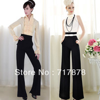 Women Bodysuit Loose New!!! Vintage Womens Career High Waist Wide Leg Long Pants Palazzo Trousers New 5 Size Free shipping