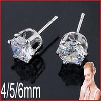 Wholesale 4 mm Sterling Silver CZ Stud Earrings Cubic Zirconia Stud Earrings With pairs