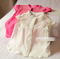 Summer baby jumper - 2015 Kids Girls Vintage Crochet Lace Floral Shirts Baby girl summer jumper Tops babies blouses chilren s clothes
