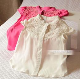 Wholesale 2016 Kids Girls Vintage Crochet Lace Floral Shirts Baby girl summer jumper Tops babies blouses children s clothes
