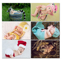 Cheap Free Shipping Infant New bron Cartoon Knitted Handmade Cap Jersey Costume Crochet Rabbit Design Baby Photography Props
