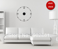 "Mechanical funlife Yes [funlife]-55cm dia (22"")Modern Simple Number Round vinyl Clock Wall Sticker for Living Room home decal(movement included)"