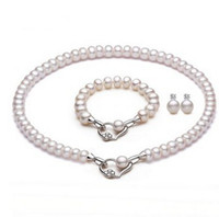 Wholesale 10 MM Set of Genuine Cultured Freshwater White Pearl Necklace Bracelet amp Earrings Jewelry Set Fashion Wedding Jewelry