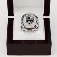 -Replica Al por mayor de 2014 HOT 2012 LA Kings STANLEY campeonato de la Copa del anillo Tamaño 11 El mejor regalo del ventilador Hombres 18K plateado joyería