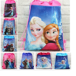 Wholesale 12pcs movie frozen Anna Elsa Kristoff Olaf Prince Hans non woven string backpack for kids children s school bag