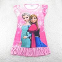 TuTu Summer Pleated Hot Helling Summer Cartoon Dresses Baby Girls Frozen Princess Anna Elsa Sofia short Sleeved Tutu Dress pajamas nightgown night skirt