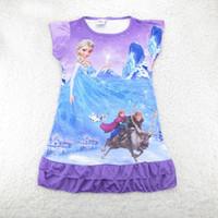 TuTu Summer Pleated Summer 2014 New Cartoon Dresses Baby Girls Frozen Princess Anna Elsa Sofia short Sleeved Tutu Dress pajamas nightgown night skirt