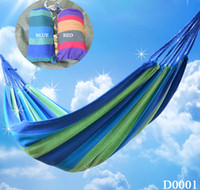Cotten Outdoor Furniture Yes New Portable Authentic Color Striped Canvas Hammock Swing Outdoor Camp Travel Beach D0001