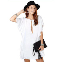 Casual Dresses Round Mini Sexy falbala hang down Feifei sleeve Chest slotted sexy White dress