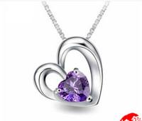 achat en gros de charme européen aquamarine-Aquamarine collier 925 Silver Charm Amour européenne pendentif en cristal et des bijoux américaine 10pcs / lot