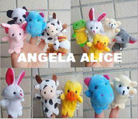 other White Plush Free Shipping 15 pcs lot, Baby Plush Toy Finger Puppets Tell Story Props(10 animal group) Animal Doll Kids Toys Children Gift
