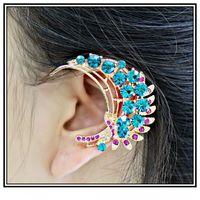 Clip-on & Screw Back Fashion Clip Earrings Free Shipping Wholesale 2pcs lot 2014 Hot Sale Luxury 2 Color Gold Alloy Rhinestone Ear Cuff Earrings Left Ear Hang For Women
