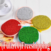 Wholesale 20pcs freeshipping Round Double sided Dishwashing Sponge Dish Towel Clean steel ball washing ball new arrival