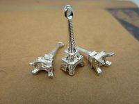 Wholesale Lovely Eiffel - 200pcs 8x23mm Silver Plated Lovely Mini 3D Eiffel Tower Charm Pendant Q002