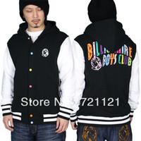 Cotton Cardigan Hoodies,Sweatshirts 2014 BBC Billionaire Boys Club Icecream s With A Hood Men's Thicken Hoodies Sweatshirts Black Or Blue S-2XL Free Shipping