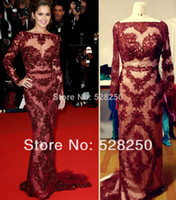 Model Pictures V-Neck Empire Customized Cannes 2013 Cheryl Cole Zuhair Murad Gown Red Carpet Sexy Burgundy Lace Long Sleeve Open Back Prom Dress