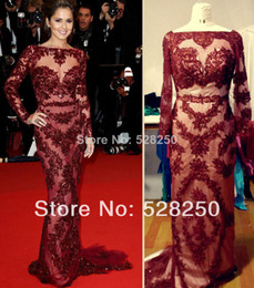 Wholesale Customized Cannes Cheryl Cole Zuhair Murad Gown Red Carpet Sexy Burgundy Lace Long Sleeve Open Back Prom Dress