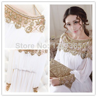 Wholesale 2014 Elegant heavy beaded fancy dubai women kaftan abaya floor length party dress long sleeves chiffon prom dress