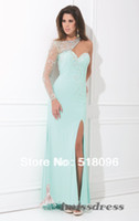 Reference Images Sweetheart Chiffon BL0589 2014 New Arrival Aqua Black Pink Long Sheath Sweetheart Side Slit Manual Beads Dresses Formal Evening Party Prom Gowns