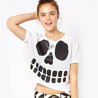 Women Cotton Polo New 2014 Fashion Summer Women Clothing Short T Shirt PUNK Skull Pattern Print T-Shirts Women Cotton Casual Tops B003 SV004674