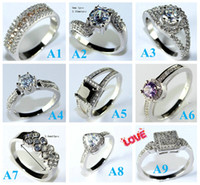 Wholesale Mix Orders Style High Quality Gifts New Love And Love Diamond Ring Sterling Silver Jewelry Vintage Rings For Women Crystal