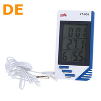 Wholesale DE Stock To DE Digital LCD Display Temperature Humidity Tester Clock Hygrometer Thermometer in DHL Free Wholesales