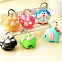 mini padlock - Creative Cartoon Bear Paws Coded Lock MINI Combination Lock Password Number Security Plus Padlock SH723