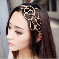 Wholesale Big discount Women Hollow Out Braided Gold Head Band Stretch Hair Accessories Gossip Girl
