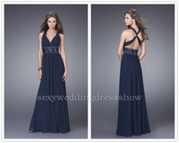 Wholesale High Quality Criss Cross Traps Evening Gowns Empire Halter Chiffon Beading Pleats Draped Floor Length Prom Dresses