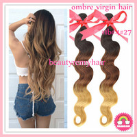 Peruvian Hair Body Wave peruvian remy hair  HOT Selling Ombre Color #1b#4#27 Body Wave Hair Weft 100% Virgin Peruvian Remy Human Hair Extensions 12''--30'' 3pcs lot DHL Free Shipping