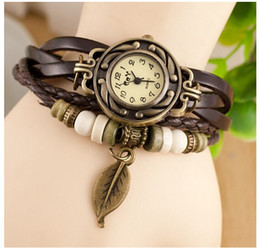 FREE SHIPPING 2015 New Arrival Fashion Leather Vintage Watch Bracelet Wristwatches For Women Dress Watch Leaf Butterfly Dropshipping 100pcs