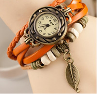 Wholesale Drop Price Pastoral Vintage Watch Leaf Pendant Leather Strap Casual Watches Analog Bronze Leaves Ladies Quartz watch New