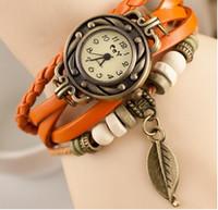DHgate moins cher Luxe Pastoral Pendentif Feuille Montre Vintage bracelet en cuir Casual Montres analogiques Bronze Leaves Femmes Mesdames montres à quartz 2016