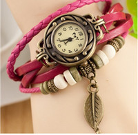 Wholesale 6Colors Original High Quality Women Genuine Leather Vintage Watch Antique Bracelet Wristwatches Butterfly Leaf