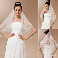 Wholesale Cheap White or Ivory Wedding Bridal Accessories Satin Ribbon Edge Tulle Veils