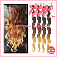 Peruvian Hair Body Wave peruvian remy hair  HOT SALE Ombre Color #1b#4#27 Body Wave Hair Weft 100% Virgin Peruvian Remy Human Hair Extensions 12''--30'' 3pcs lot DHL Free Shipping